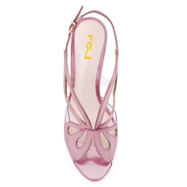 Pink Hollow Out Clear PVC Slingback Heels Sandals  image 4