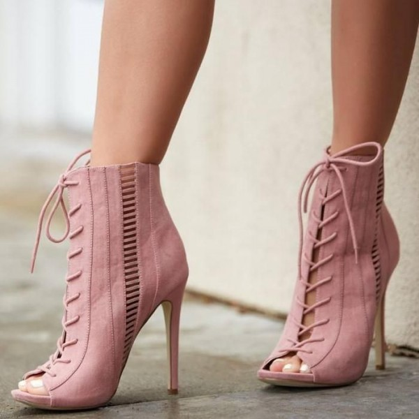 Pink Hollow out Lace up Boots Peep Toe Stiletto Heel Ankle Boots image 1