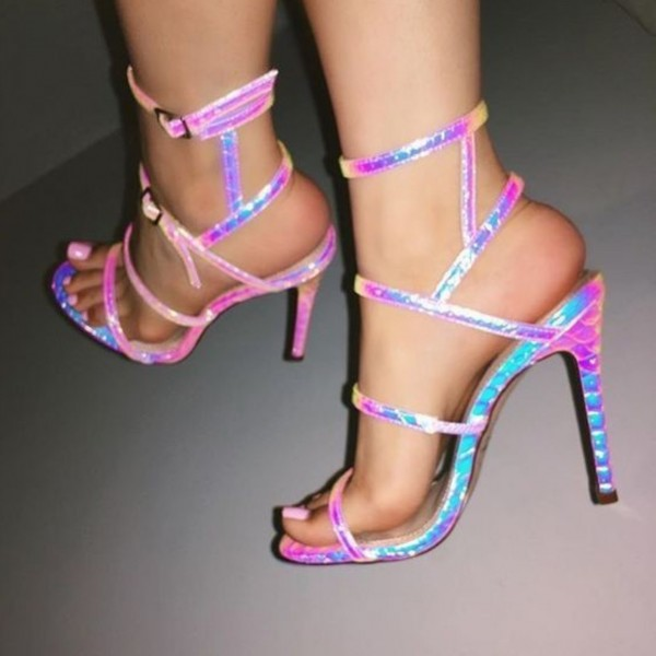 Pink Holographic Python Stiletto Heels Sandals Open Toe Sexy Sandals image 1