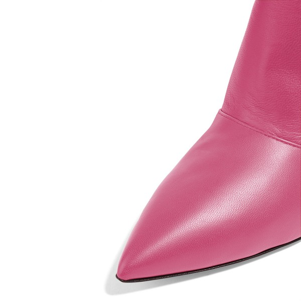 Pink Kitten Heel Boots Pointy Toe Fashion Ankle Boots image 3