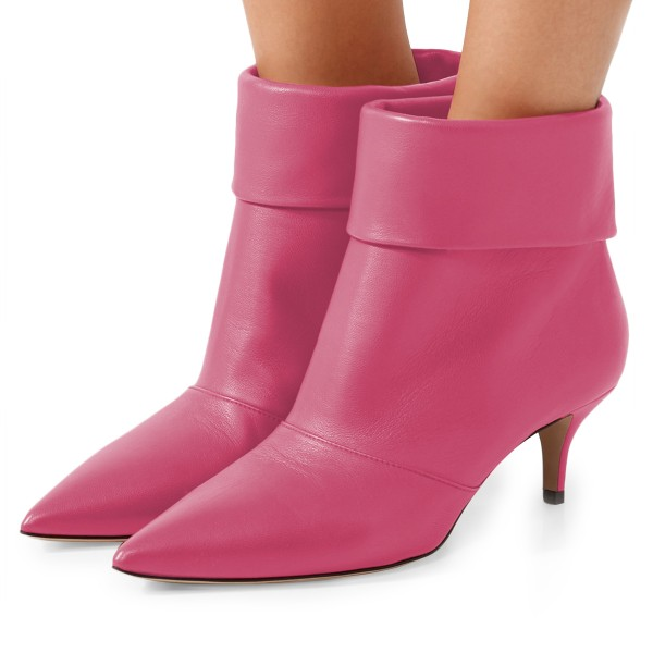 Pink Kitten Heel Boots Pointy Toe Fashion Ankle Boots image 1