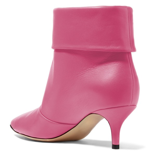 Pink Kitten Heel Boots Pointy Toe Fashion Ankle Boots image 4