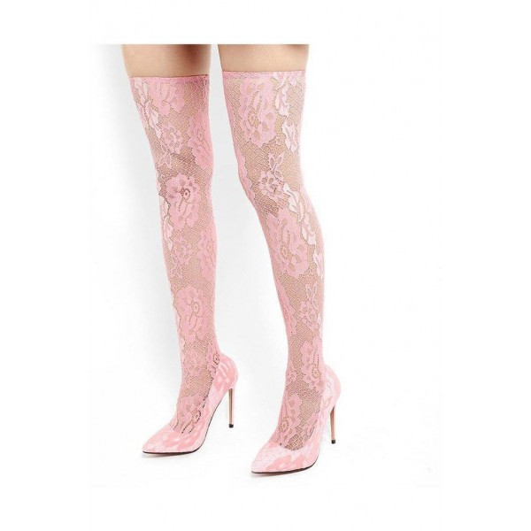 Pink Lace Thigh High Heel Boots image 3