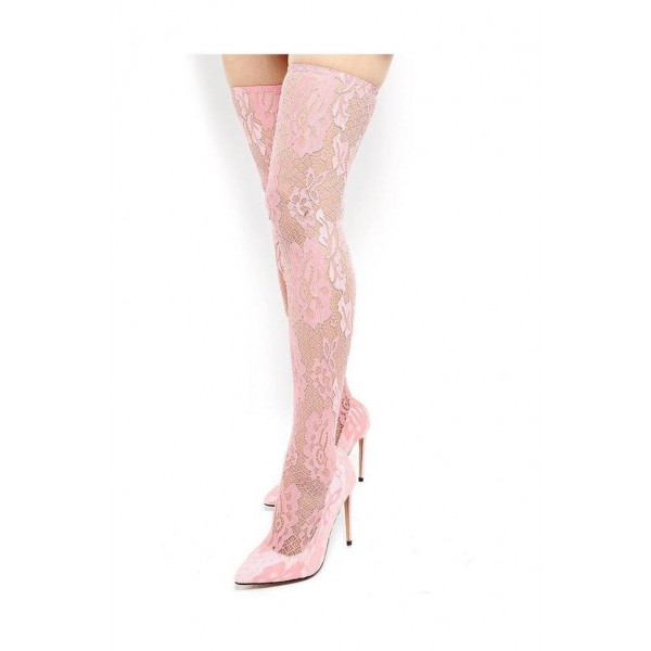 Pink Lace Thigh High Heel Boots image 1
