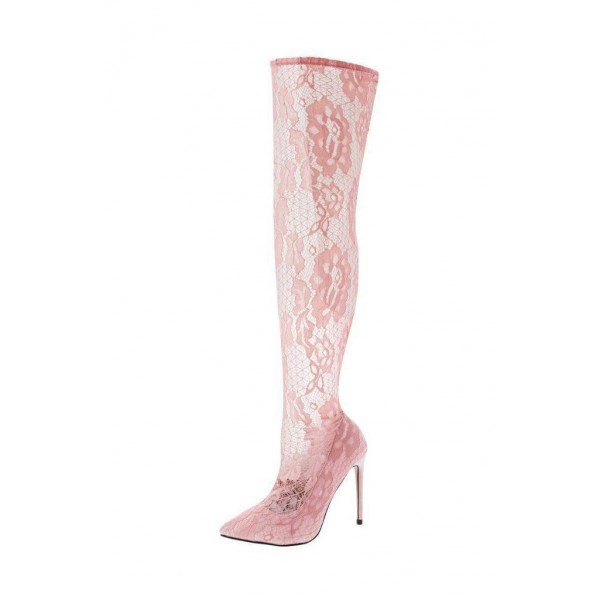 Pink Lace Thigh High Heel Boots image 5
