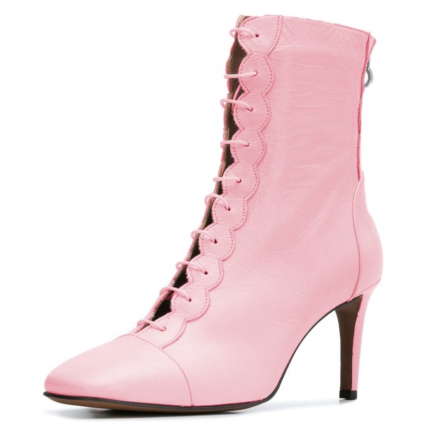 865aa81b616e Pink Lace Up Boots Stiletto Heel Ankle Boots image 1 ...