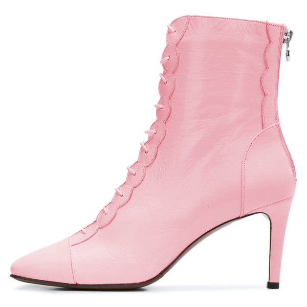Pink Lace Up Boots Stiletto Heel Ankle Boots image 3