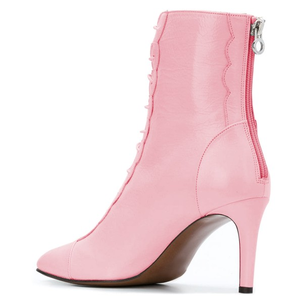 Pink Lace Up Boots Stiletto Heel Ankle Boots image 4