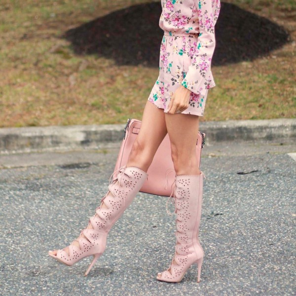 Pink Lace Up Carve patterns Fashion Boots Knee High Peep Toe Boots image 1