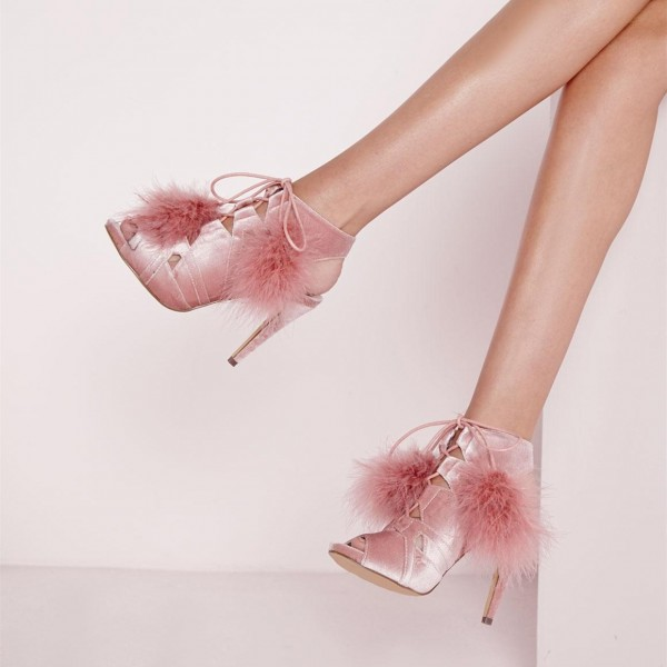 Pink Peep Toe Booties Lace up Slingback Shoes Velvet Boots image 1