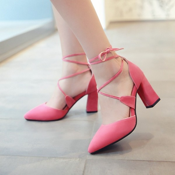 Pink Lace up Heels Suede Chunky Heel Closed Toe Sandals image 2