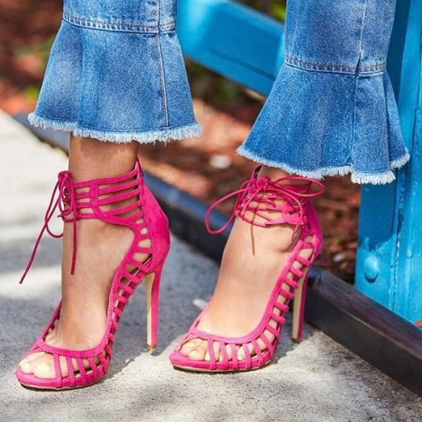 Rose Red Stiletto Heels Peep Toe Lace up Strappy Sandals image 5