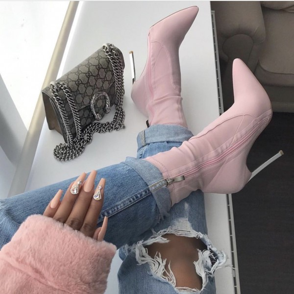 Pink Lycra Tight Fashion Boots Stiletto Heel Ankle Boots image 1