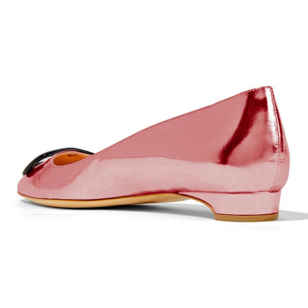 Pink Pointy Toe Flats Comfortable Shoes image 2