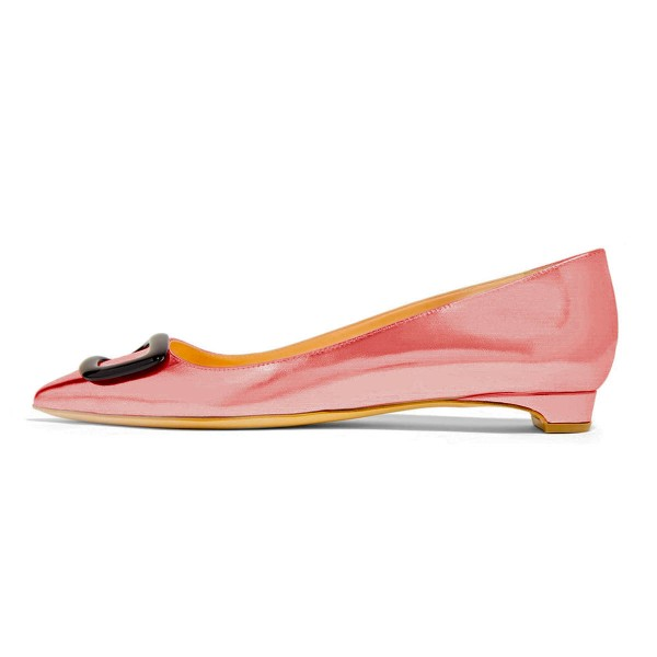 Pink Pointy Toe Flats Comfortable Shoes image 3