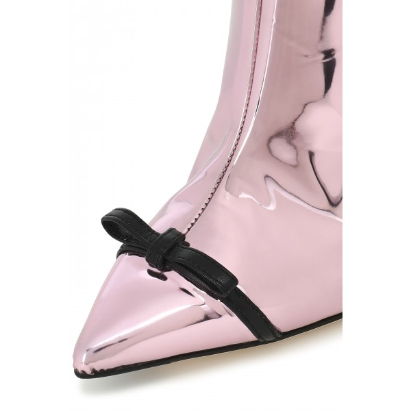 Pink Mirror Leather Bow Stiletto Heel Boots Ankle Booties image 2