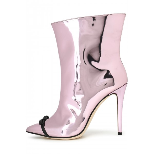 Pink Mirror Leather Bow Stiletto Heel Boots Ankle Booties image 3