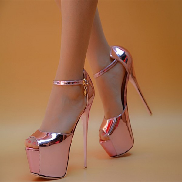 Women's Pink Peep Toe Super Stiletto Heels Pencil Stripper Sandals image 1