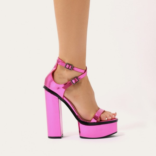 Orchid Mirror Leather Platform Sandals Cross Over Chunky Heel Sandals image 4