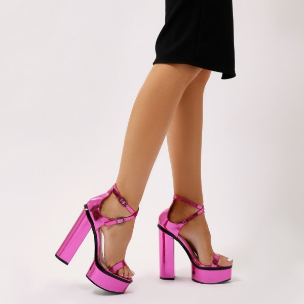 Orchid Mirror Leather Platform Sandals Cross Over Chunky Heel Sandals image 5