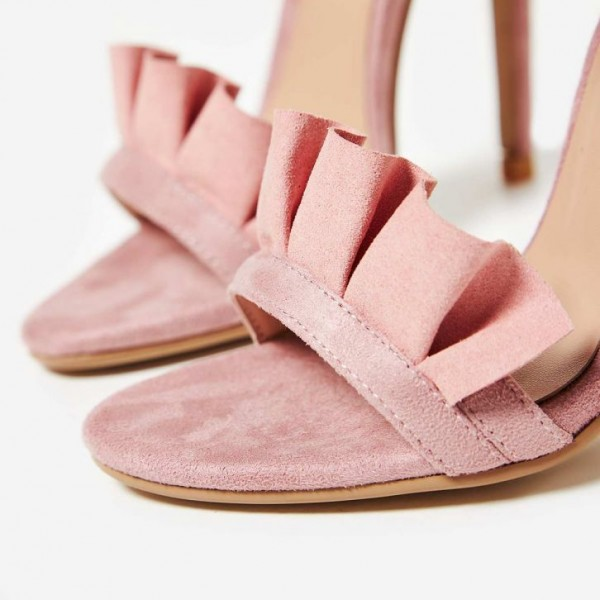 Pink Stiletto Heels Dress Shoes Ankle Strap Suede Ruffle Sandals image 4