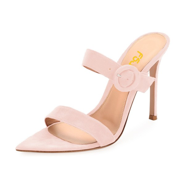 Pink Open Toe Stiletto Heels Mule Summer Sandals Sexy Shoes image 1