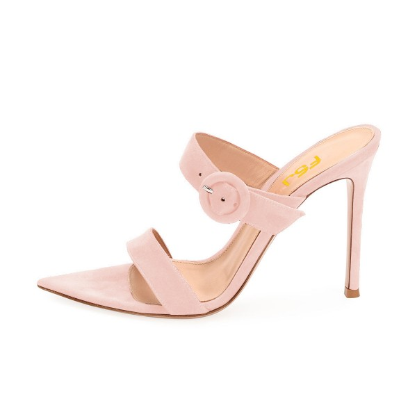 Pink Open Toe Stiletto Heels Mule Summer Sandals Sexy Shoes image 2