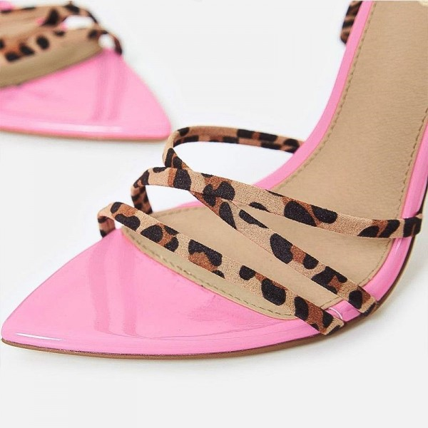 Pink Patent Leather Leopard Print Stiletto Heel Ankle Strap Sandals image 2