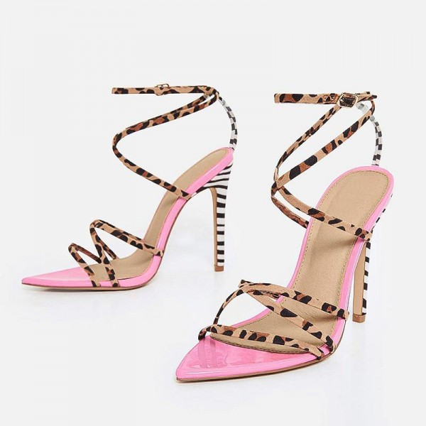 Pink Patent Leather Leopard Print Stiletto Heel Ankle Strap Sandals image 1
