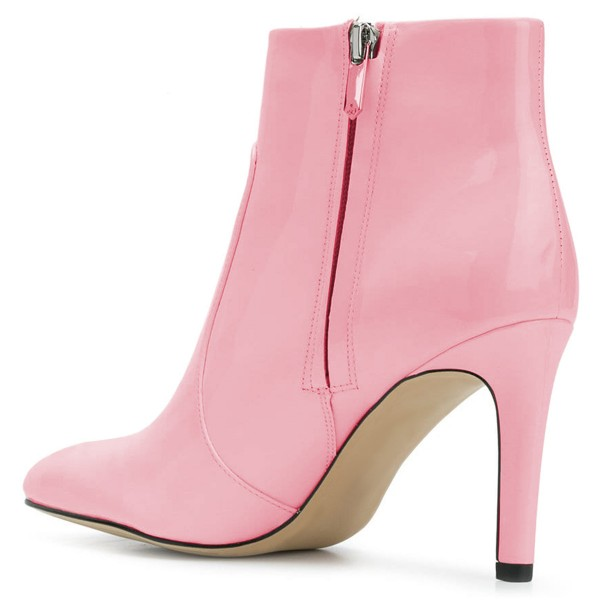 Pink Patent Leather Stiletto Heel Ankle Booties for Women image 3