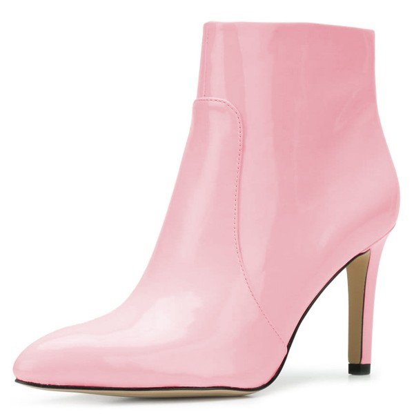 Pink Patent Leather Stiletto Heel Ankle Booties for Women image 1