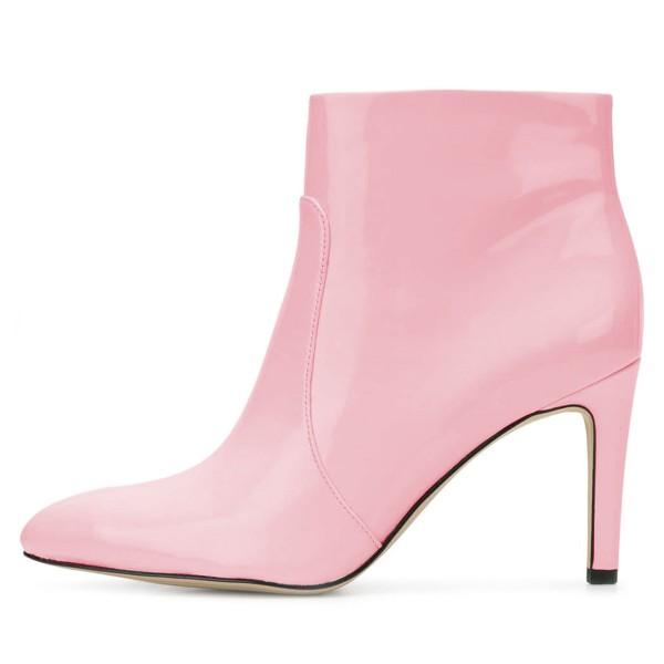 Pink Patent Leather Stiletto Heel Ankle Booties for Women image 2