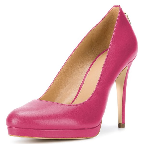 Hot Pink Platform Heels Almond Toe Stiletto Heel Pumps image 1
