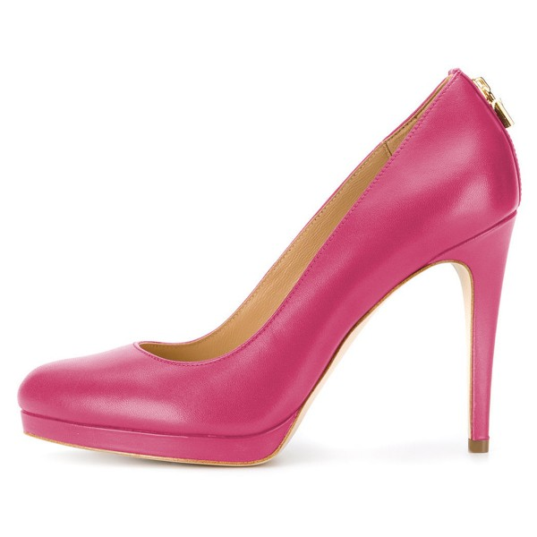 Hot Pink Platform Heels Almond Toe Stiletto Heel Pumps image 3