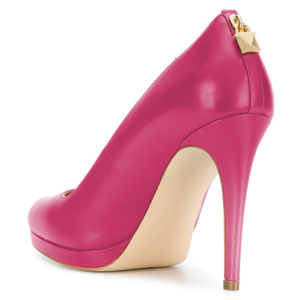 Hot Pink Platform Heels Almond Toe Stiletto Heel Pumps image 4