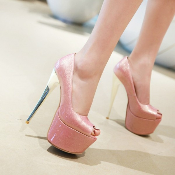 Pink Peep Toe Heels Platform Sexy Shoes Stiletto Heel Stripper Pumps image 2