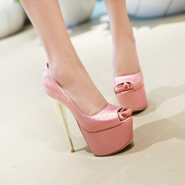 Pink Peep Toe Heels Platform Sexy Shoes Stiletto Heel Stripper Pumps image 4