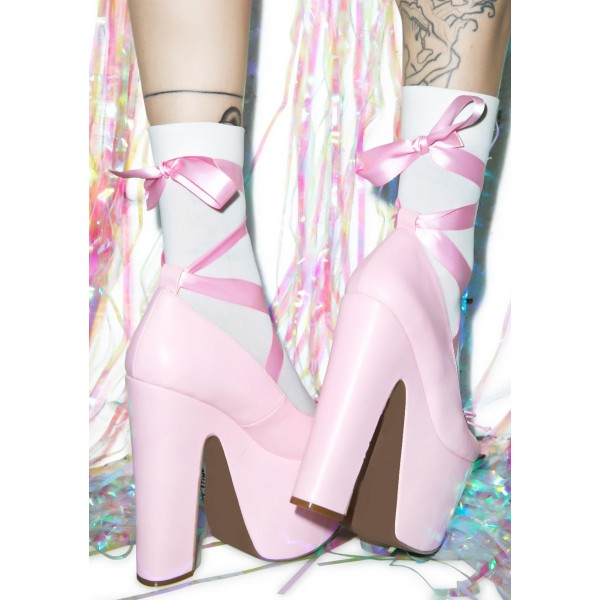 Pink Stripper Heels Lace up Chunky Heel Pumps with Platform image 4