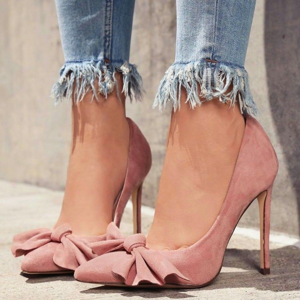 Pink Pointy Toe Bow Heels Suede Stiletto Heel Pumps image 1