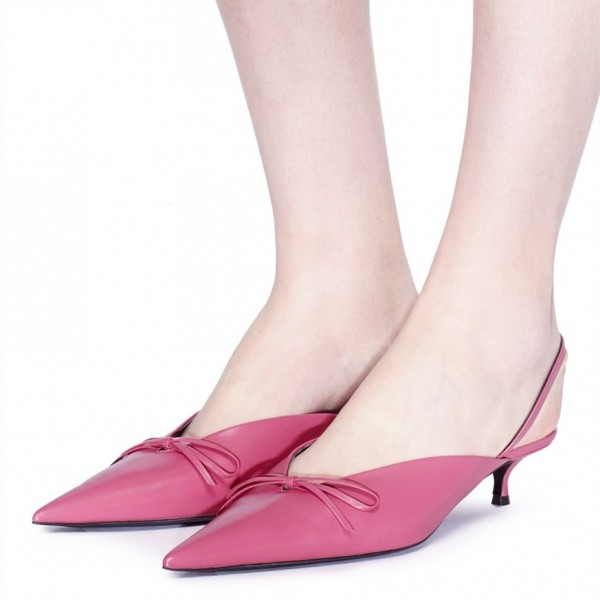 Pink Pointy Toe Bow Slingback Kitten Heels Pumps image 1