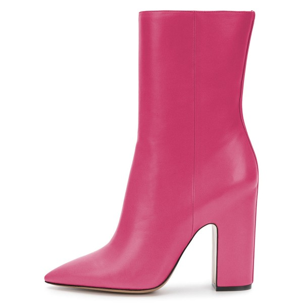 Pink Pointy Toe Chunky Heel Boots Fashion Ankle Booties with Zipper image 3