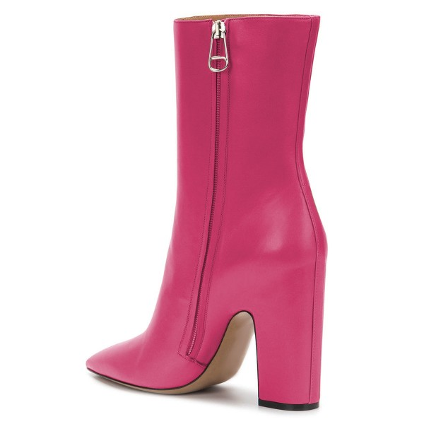 Pink Pointy Toe Chunky Heel Boots Fashion Ankle Booties with Zipper image 4