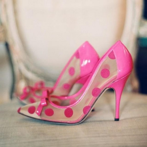 Fuchsia Polka Dots Bow Heels Clear Shoes High Heels Pumps for Women image 1