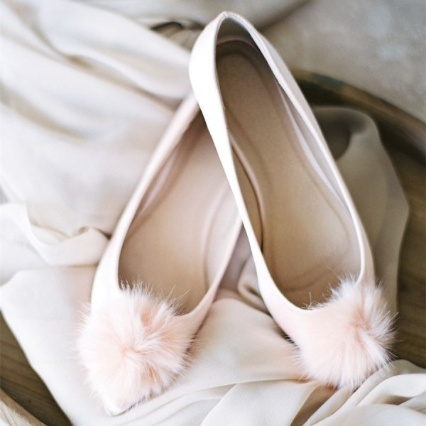 Pink Pom Pom Wedding Shoes Pointy Toe Flats image 1