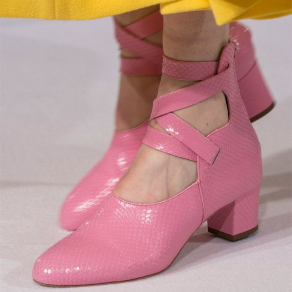 Pink Python Round Toe Block Heels Strappy Ankle Booties image 1