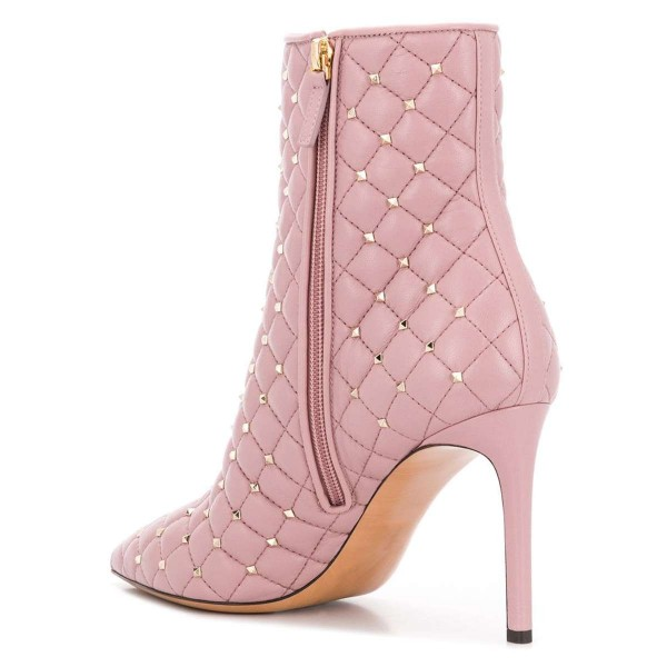 Pink Quilted Ankle Booties Studs Shoes Pointy Toe Stiletto Boots image 4