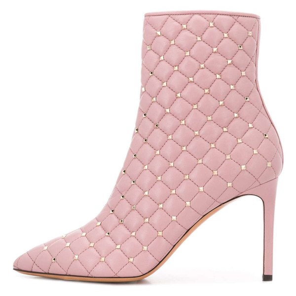 Pink Quilted Ankle Booties Studs Shoes Pointy Toe Stiletto Boots image 3