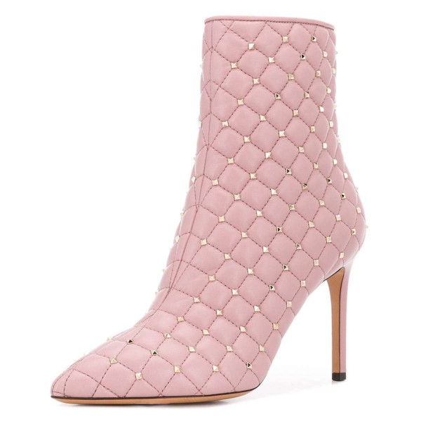 Pink Quilted Ankle Booties Studs Shoes Pointy Toe Stiletto Boots image 1