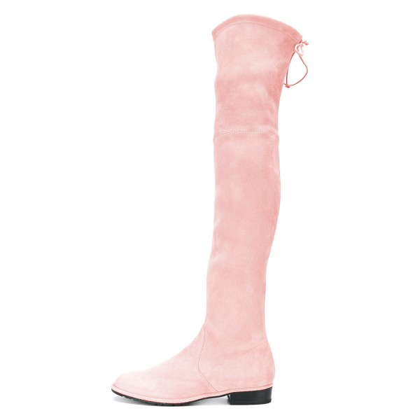 Pink Round Toe Chunky Heels Long Boots Suede Over-the-knee Boots image 2