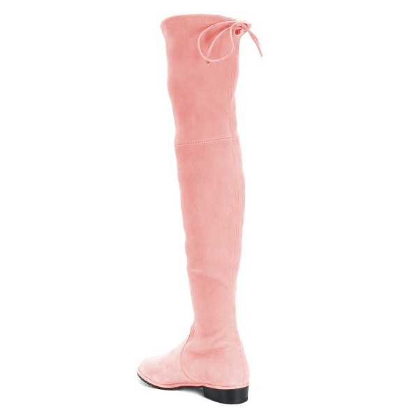 Pink Round Toe Chunky Heels Long Boots Suede Over-the-knee Boots image 4